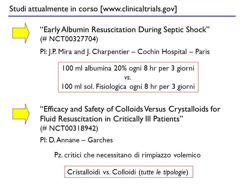 Studi attualmente in corso [www.clinicaltrials.gov] Early Albumin Resuscitation During Septic Shock (# NCT00327704) 100 ml albumina 20% ogni 8 hr per