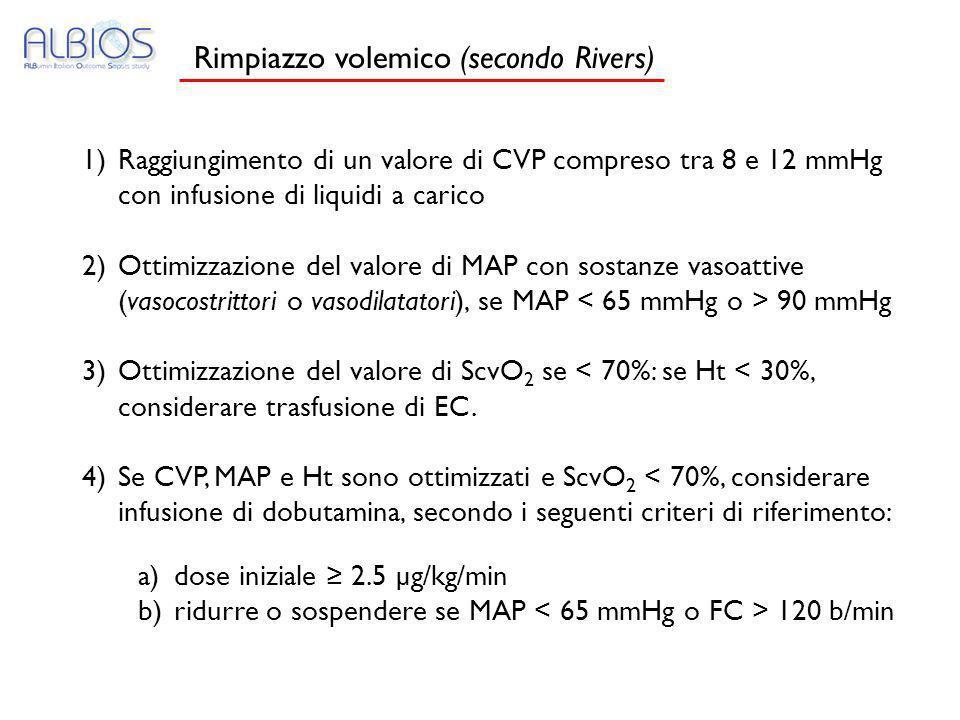 1)Raggiungimento di un valore di CVP compreso tra 8 e 12 mmHg con infusione di liquidi a carico 2)Ottimizzazione del valore di MAP con sostanze vasoat