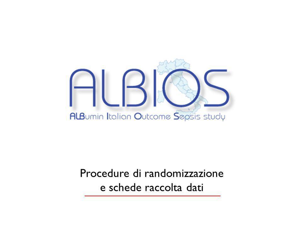 Procedure di randomizzazione e schede raccolta dati