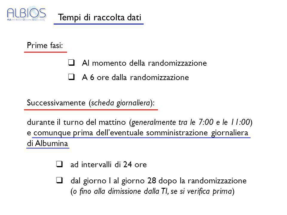 Tempi di raccolta dati Prime fasi: Al momento della randomizzazione A 6 ore dalla randomizzazione Successivamente (scheda giornaliera): durante il tur