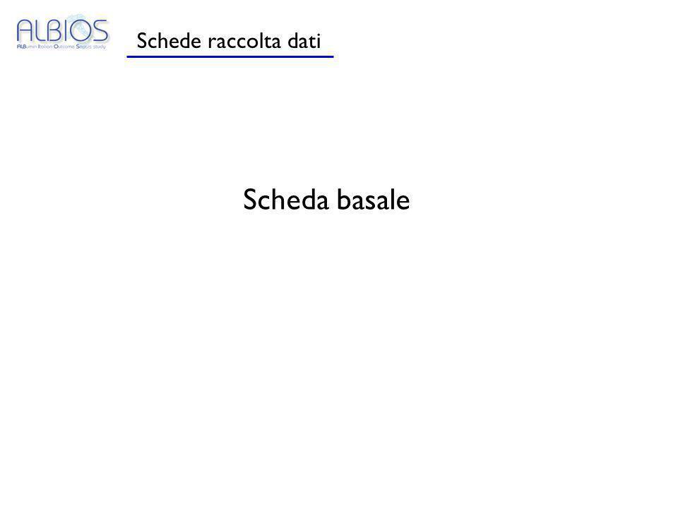 Schede raccolta dati Scheda basale