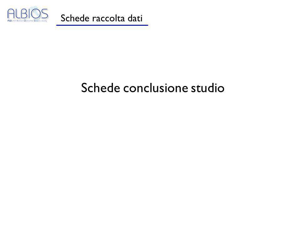 Schede raccolta dati Schede conclusione studio