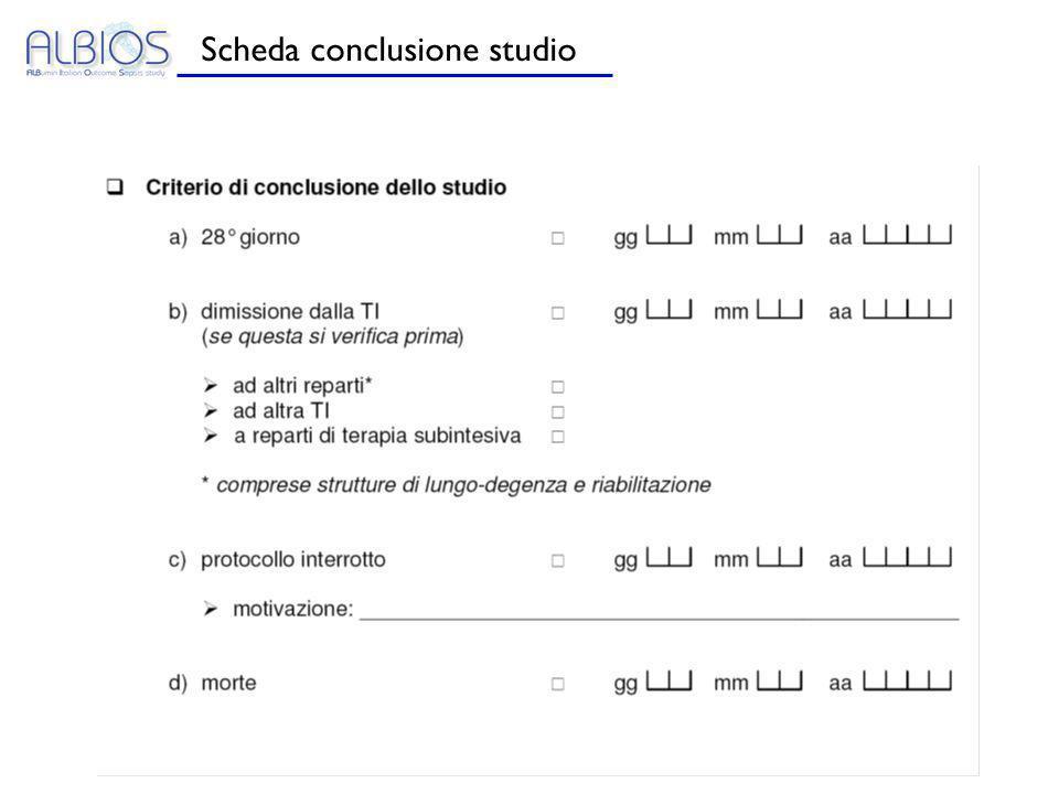 Scheda conclusione studio