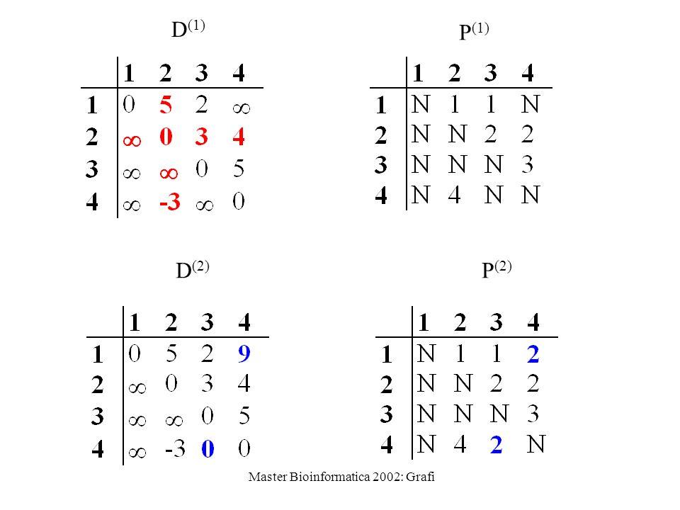 Master Bioinformatica 2002: Grafi D (1) P (1) D (2) P (2)