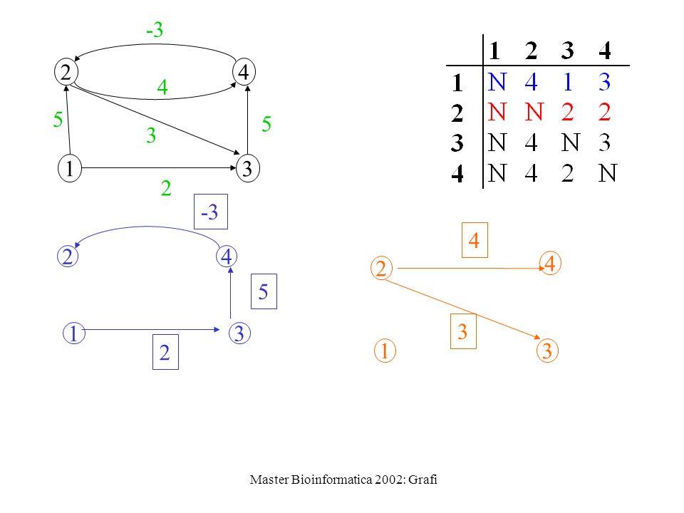 Master Bioinformatica 2002: Grafi 1 24 3 2 5 3 5 -3 4 13 2 24 5 1 2 4 3 3 4
