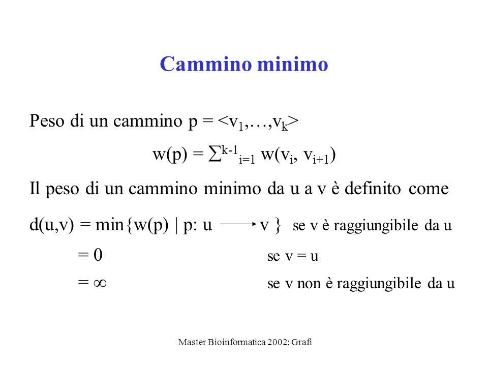 Master Bioinformatica 2002: Grafi Cammino minimo Peso di un cammino p = w(p) = k-1 i=1 w(v i, v i+1 ) Il peso di un cammino minimo da u a v è definito