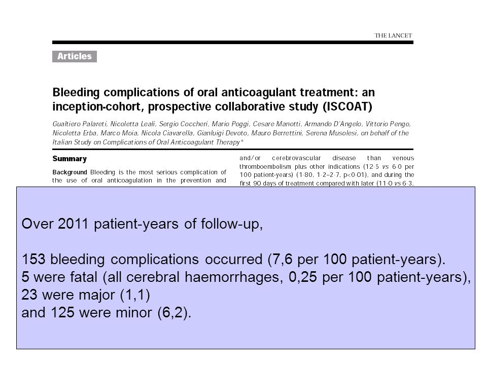 Over 2011 patient-years of follow-up, 153 bleeding complications occurred (7,6 per 100 patient-years). 5 were fatal (all cerebral haemorrhages, 0,25 p