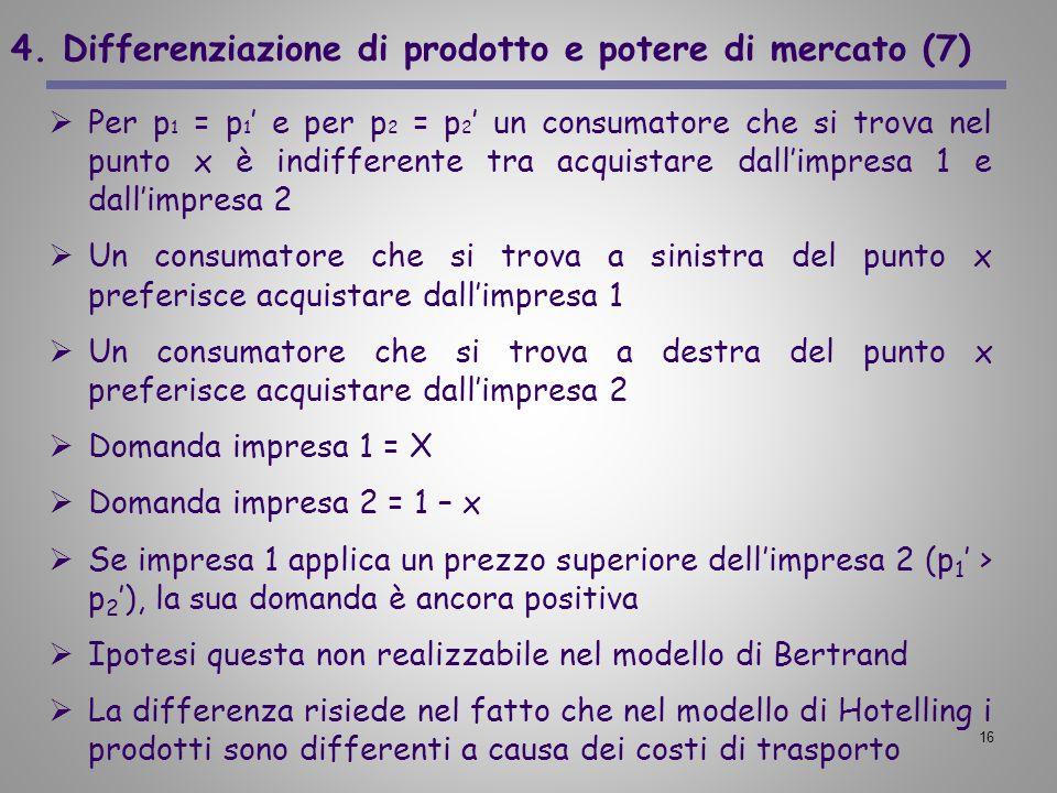 16 4. Differenziazione di prodotto e potere di mercato (7) Per p 1 = p 1 e per p 2 = p 2 un consumatore che si trova nel punto x è indifferente tra ac