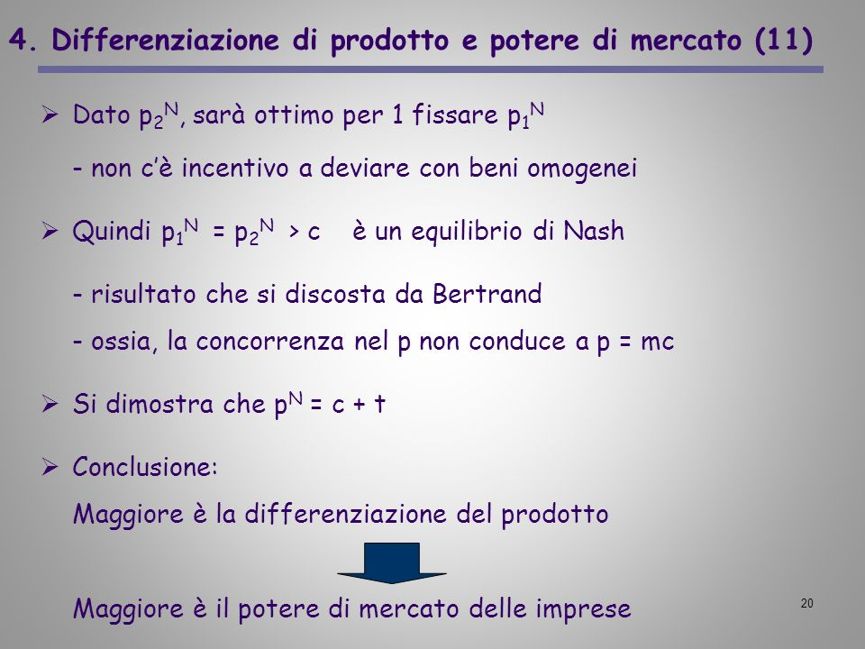 20 4. Differenziazione di prodotto e potere di mercato (11) Dato p 2 N, sarà ottimo per 1 fissare p 1 N - non cè incentivo a deviare con beni omogenei