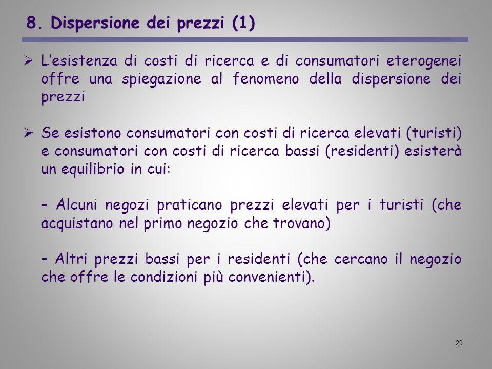29 8. Dispersione dei prezzi (1) Lesistenza di costi di ricerca e di consumatori eterogenei offre una spiegazione al fenomeno della dispersione dei pr