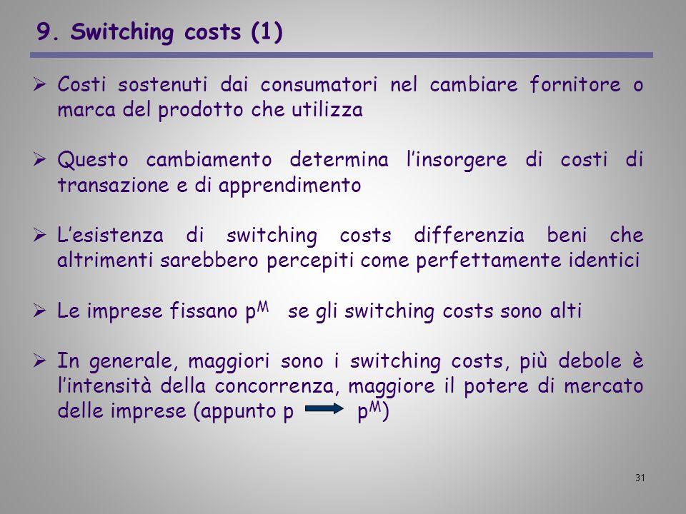 31 9. Switching costs (1) Costi sostenuti dai consumatori nel cambiare fornitore o marca del prodotto che utilizza Questo cambiamento determina linsor