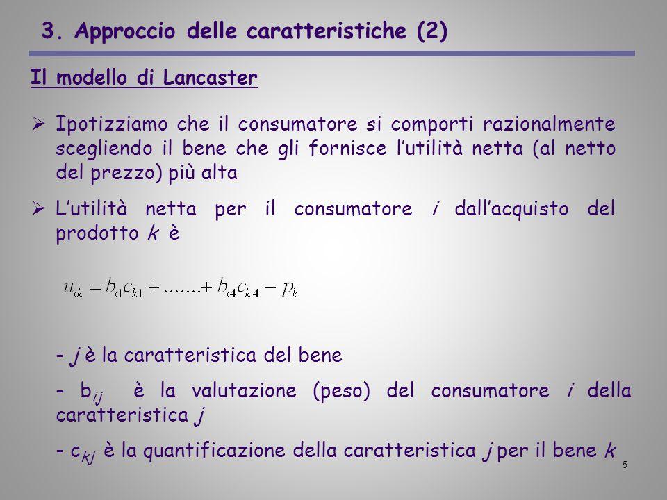 5 3. Approccio delle caratteristiche (2) Il modello di Lancaster Ipotizziamo che il consumatore si comporti razionalmente scegliendo il bene che gli f