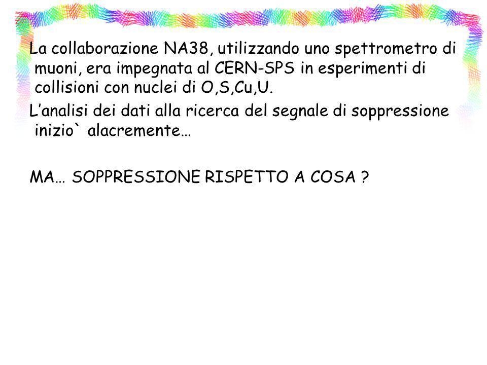 La collaborazione NA38, utilizzando uno spettrometro di muoni, era impegnata al CERN-SPS in esperimenti di collisioni con nuclei di O,S,Cu,U.