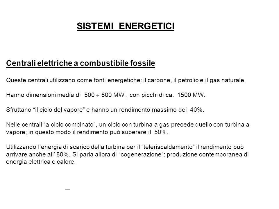 SISTEMI ENERGETICI Centrali elettriche a combustibile fossile Queste centrali utilizzano come fonti energetiche: il carbone, il petrolio e il gas natu