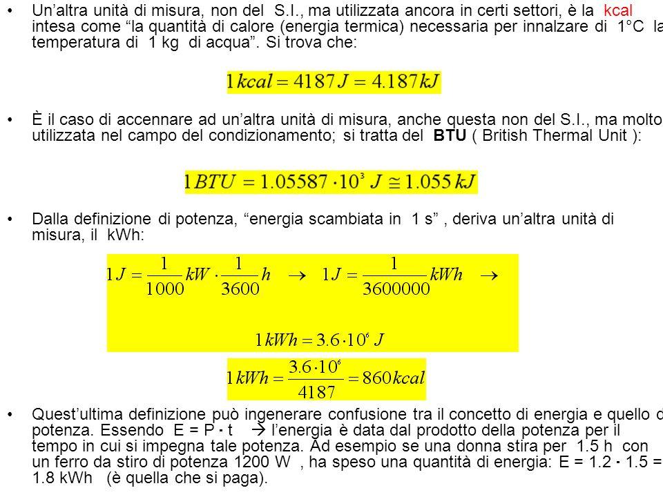 Unaltra unità di misura, non del S.I., ma utilizzata ancora in certi settori, è la kcal intesa come la quantità di calore (energia termica) necessaria