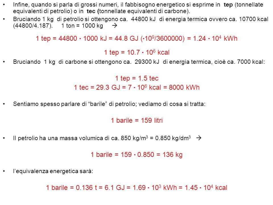 Infine, quando si parla di grossi numeri, il fabbisogno energetico si esprime in tep (tonnellate equivalenti di petrolio) o in tec (tonnellate equival