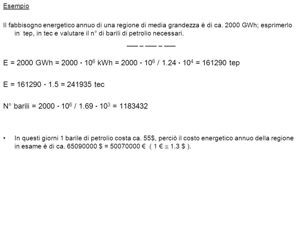 Esempio Il fabbisogno energetico annuo di una regione di media grandezza è di ca. 2000 GWh; esprimerlo in tep, in tec e valutare il n° di barili di pe
