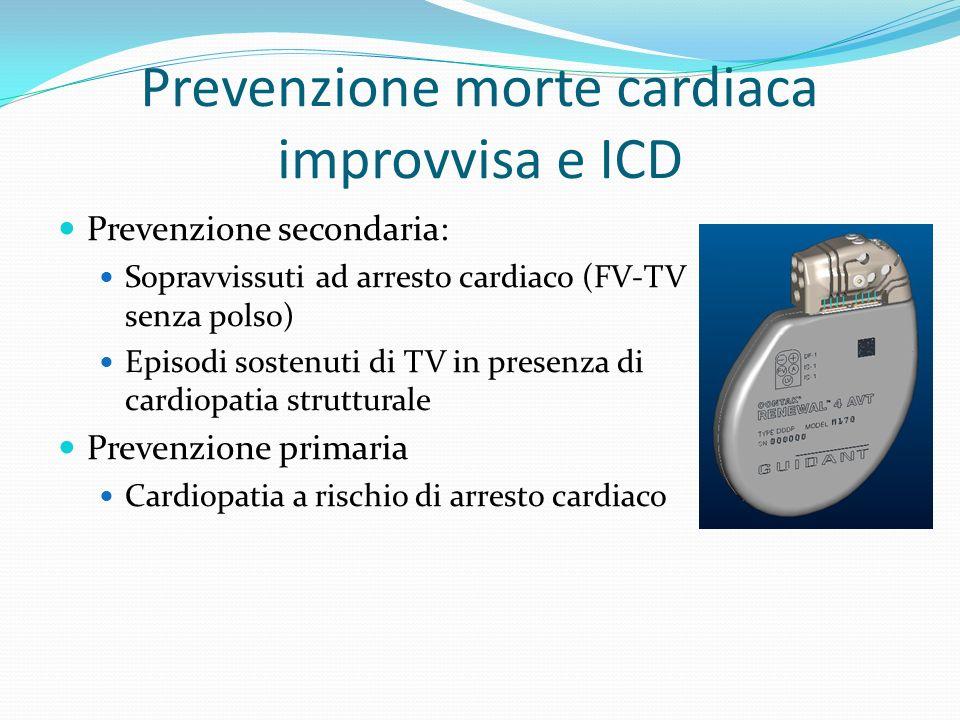 Prevenzione morte cardiaca improvvisa e ICD Prevenzione secondaria: Sopravvissuti ad arresto cardiaco (FV-TV senza polso) Episodi sostenuti di TV in presenza di cardiopatia strutturale Prevenzione primaria Cardiopatia a rischio di arresto cardiaco