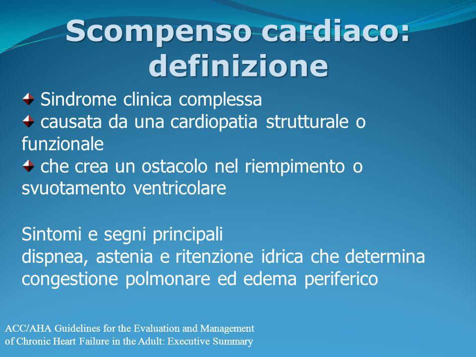 Sindrome clinica complessa causata da una cardiopatia strutturale o funzionale che crea un ostacolo nel riempimento o svuotamento ventricolare Sintomi