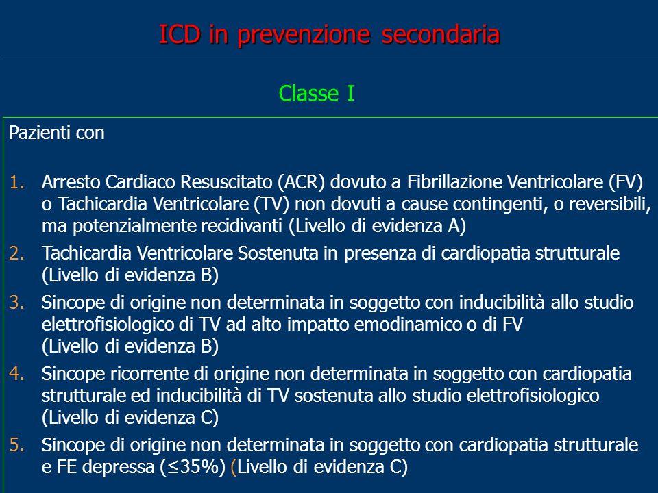 ICD in prevenzione secondaria Pazienti con 1.Arresto Cardiaco Resuscitato (ACR) dovuto a Fibrillazione Ventricolare (FV) o Tachicardia Ventricolare (TV) non dovuti a cause contingenti, o reversibili, ma potenzialmente recidivanti (Livello di evidenza A) 2.Tachicardia Ventricolare Sostenuta in presenza di cardiopatia strutturale (Livello di evidenza B) 3.Sincope di origine non determinata in soggetto con inducibilità allo studio elettrofisiologico di TV ad alto impatto emodinamico o di FV (Livello di evidenza B) 4.Sincope ricorrente di origine non determinata in soggetto con cardiopatia strutturale ed inducibilità di TV sostenuta allo studio elettrofisiologico (Livello di evidenza C) 5.Sincope di origine non determinata in soggetto con cardiopatia strutturale e FE depressa (35%) (Livello di evidenza C) Classe I