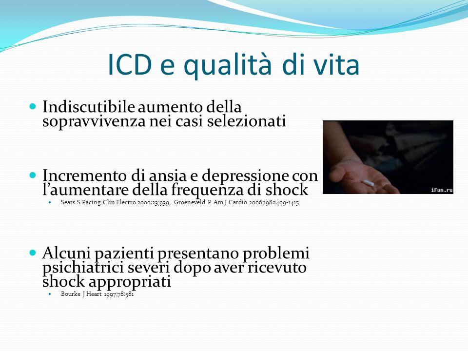 ICD e qualità di vita Indiscutibile aumento della sopravvivenza nei casi selezionati Incremento di ansia e depressione con laumentare della frequenza