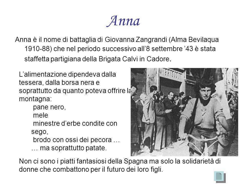 Anna Anna è il nome di battaglia di Giovanna Zangrandi (Alma Bevilaqua 1910-88) che nel periodo successivo all8 settembre 43 è stata staffetta partigi