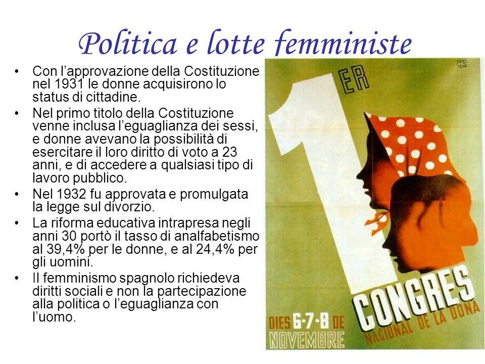 Politica e lotte femministe Con lapprovazione della Costituzione nel 1931 le donne acquisirono lo status di cittadine. Nel primo titolo della Costituz