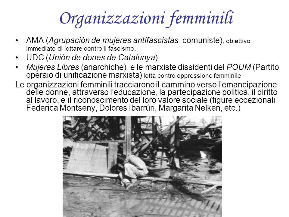Organizzazioni femminili AMA (Agrupación de mujeres antifascistas -comuniste), obiettivo immediato di lottare contro il fascismo. UDC (Unión de dones