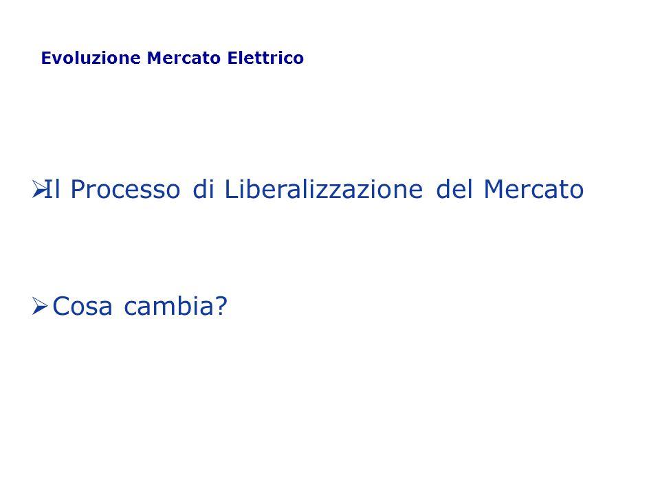 Il Processo di Liberalizzazione del Mercato Cosa cambia? Evoluzione Mercato Elettrico
