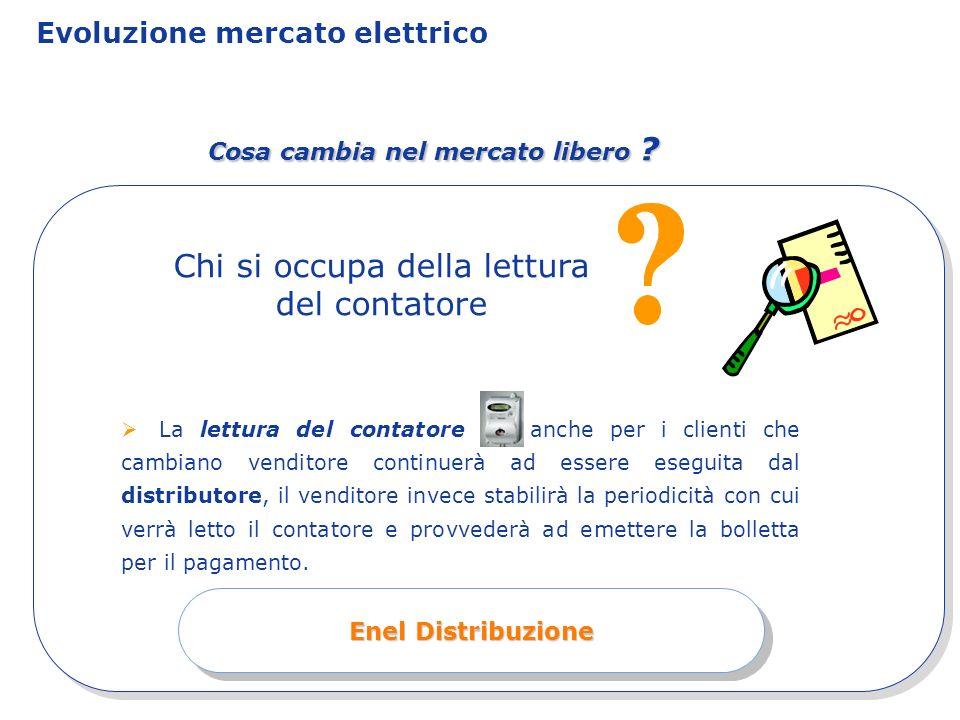 Evoluzione mercato elettrico Cosa cambia nel mercato libero ? La lettura del contatore anche per i clienti che cambiano venditore continuerà ad essere
