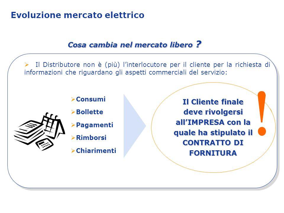 Evoluzione mercato elettrico Il Distributore non è (più) linterlocutore per il cliente per la richiesta di informazioni che riguardano gli aspetti com
