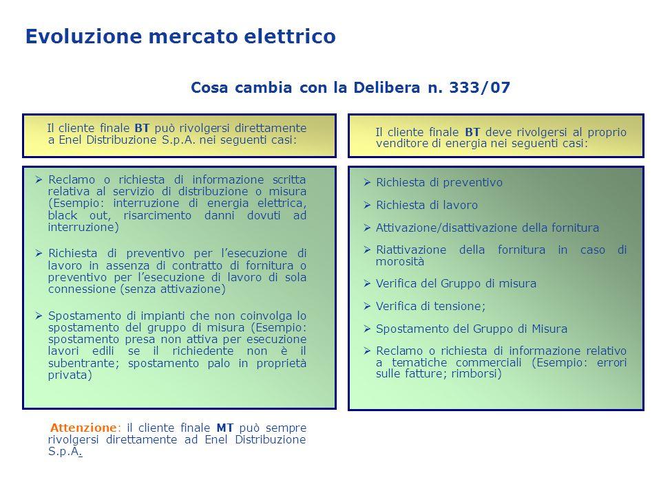 Evoluzione mercato elettrico Il cliente finale BT può rivolgersi direttamente a Enel Distribuzione S.p.A. nei seguenti casi: Reclamo o richiesta di in