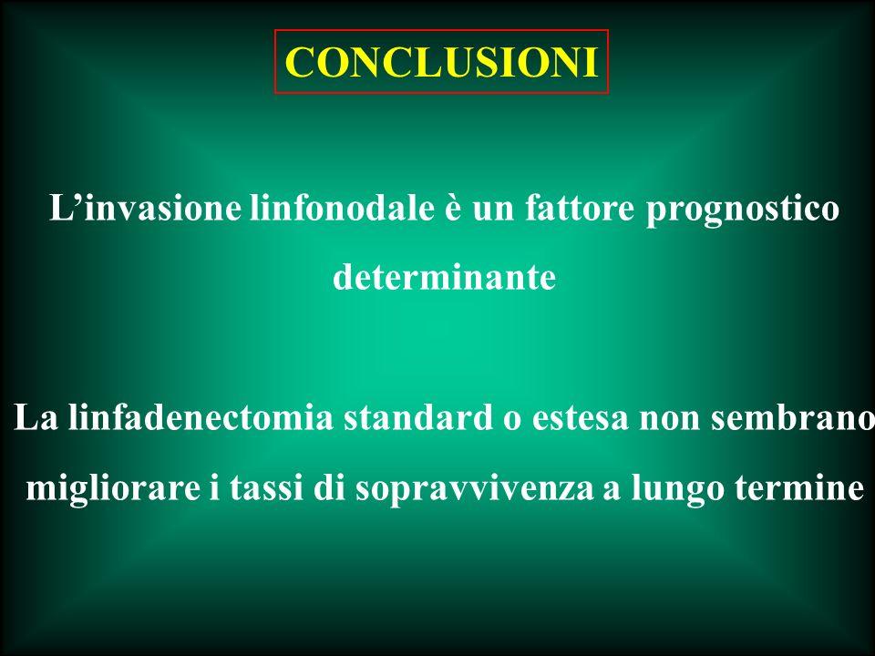 Linvasione linfonodale è un fattore prognostico determinante La linfadenectomia standard o estesa non sembrano migliorare i tassi di sopravvivenza a l