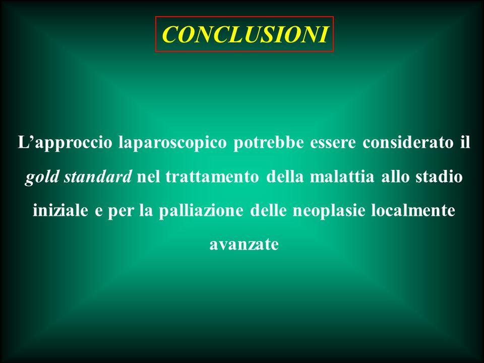 Lapproccio laparoscopico potrebbe essere considerato il gold standard nel trattamento della malattia allo stadio iniziale e per la palliazione delle n