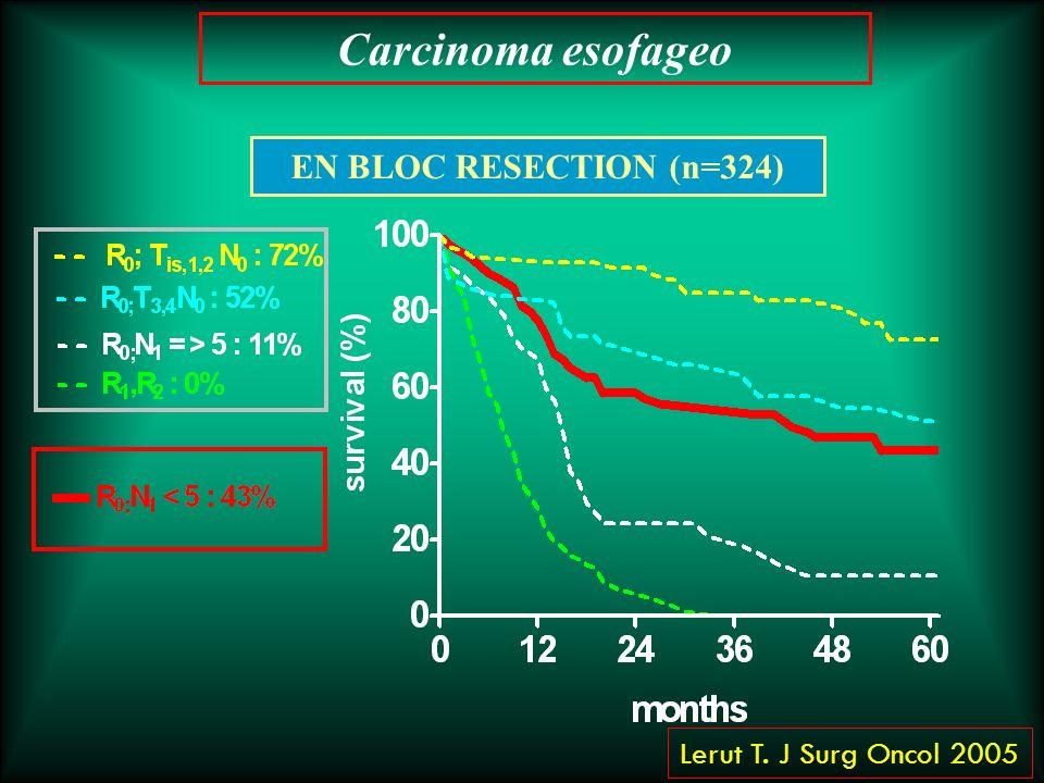 EN BLOC RESECTION (n=324) Lerut T. J Surg Oncol 2005 Carcinoma esofageo