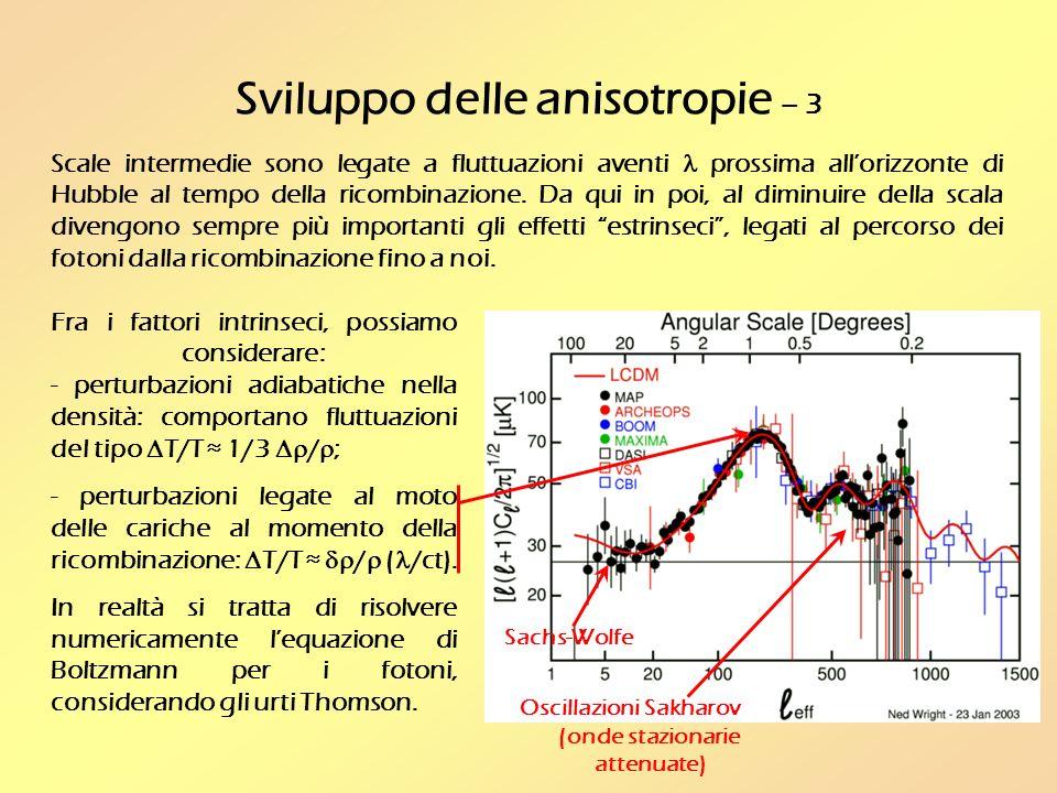 Sviluppo delle anisotropie – 3 Scale intermedie sono legate a fluttuazioni aventi prossima allorizzonte di Hubble al tempo della ricombinazione.