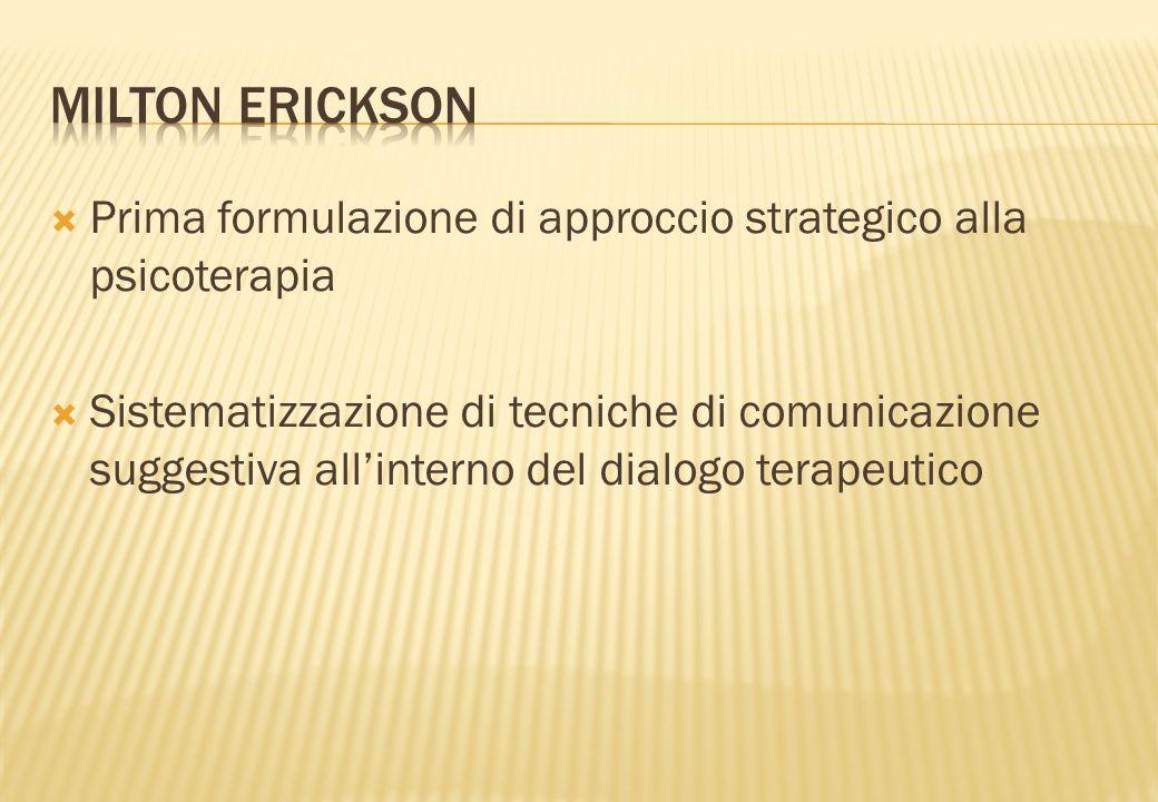 Prima formulazione di approccio strategico alla psicoterapia Sistematizzazione di tecniche di comunicazione suggestiva allinterno del dialogo terapeut