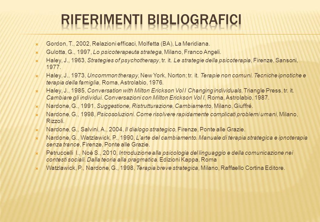Gordon, T., 2002, Relazioni efficaci, Molfetta (BA), La Meridiana. Gulotta, G., 1997, Lo psicoterapeuta stratega, Milano, Franco Angeli. Haley, J., 19