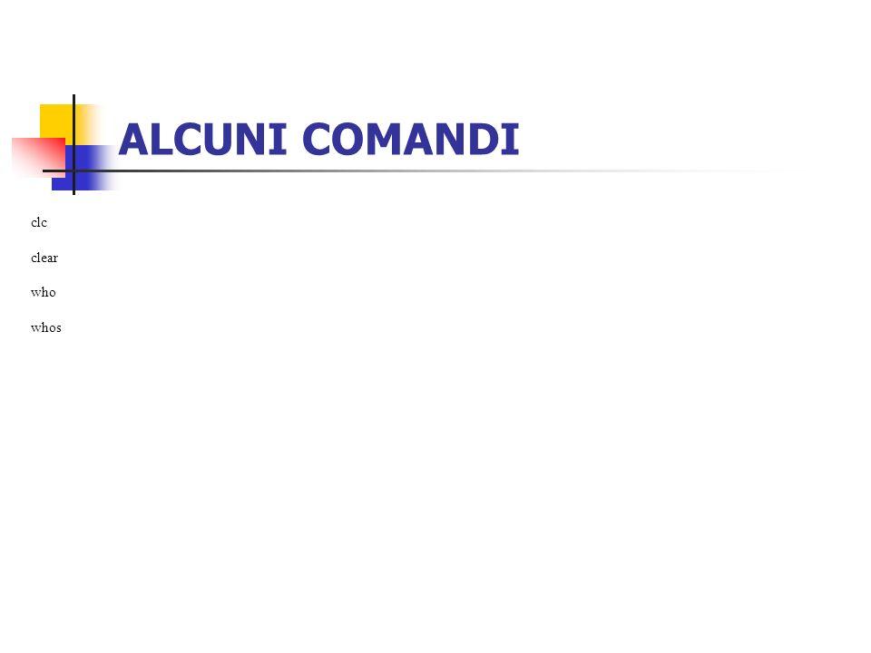 ALCUNI COMANDI clc clear who whos