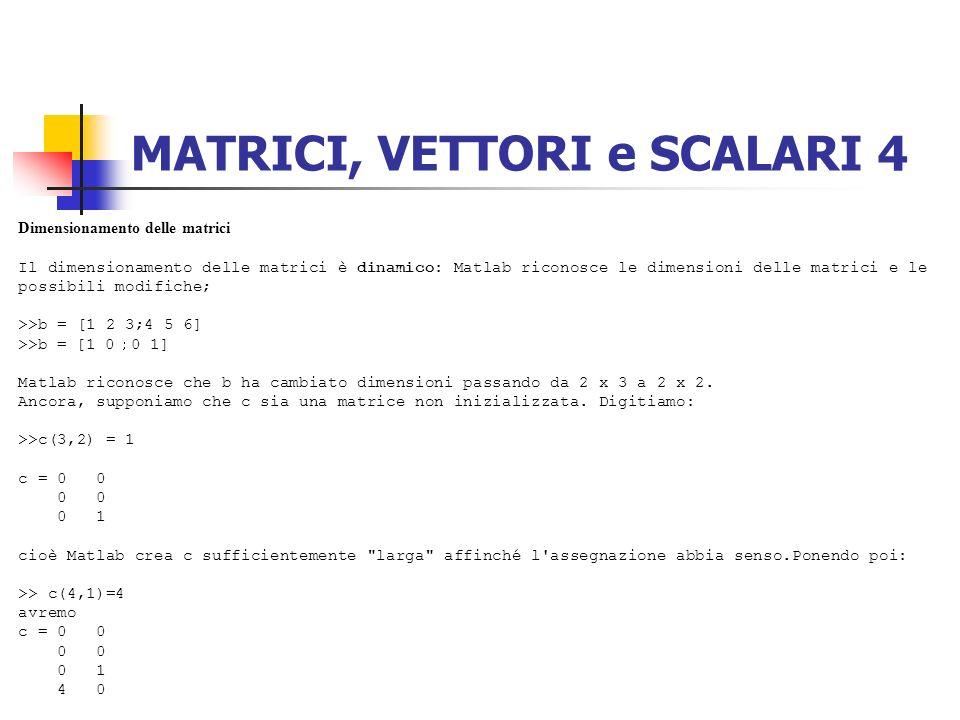 MATRICI, VETTORI e SCALARI 4 Dimensionamento delle matrici Il dimensionamento delle matrici è dinamico: Matlab riconosce le dimensioni delle matrici e