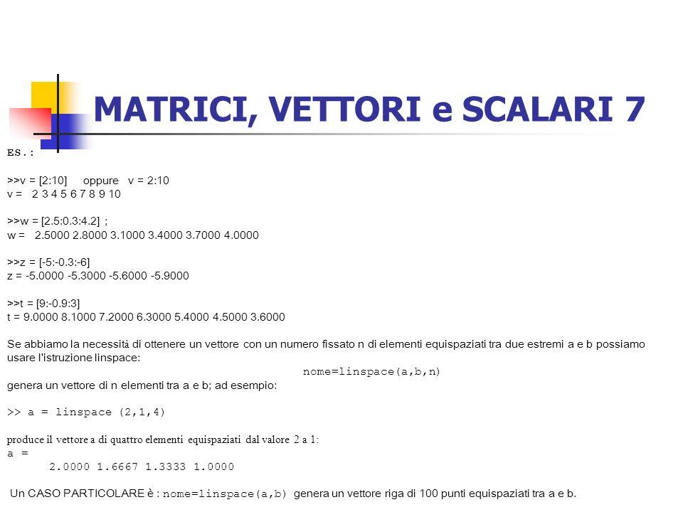 MATRICI, VETTORI e SCALARI 7 ES.: >>v = [2:10] oppure v = 2:10 v = 2 3 4 5 6 7 8 9 10 >>w = [2.5:0.3:4.2] ; w = 2.5000 2.8000 3.1000 3.4000 3.7000 4.0