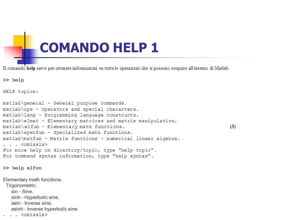 COMANDO HELP 1 Il comando help serve per ottenere informazioni su tutte le operazioni che si possono eseguire all'interno di Matlab. >> help HELP topi