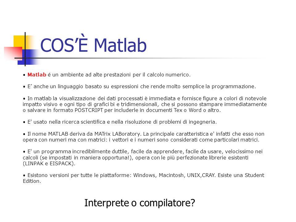 COSÈ Matlab Matlab é un ambiente ad alte prestazioni per il calcolo numerico. E anche un linguaggio basato su espressioni che rende molto semplice la