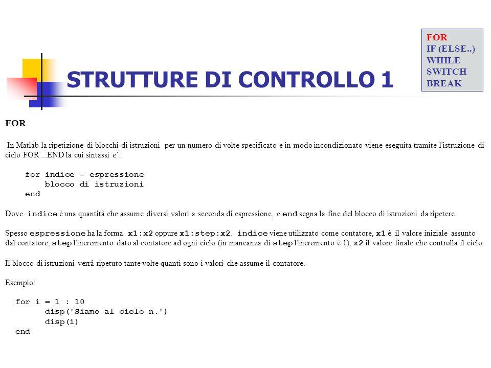 STRUTTURE DI CONTROLLO 1 FOR In Matlab la ripetizione di blocchi di istruzioni per un numero di volte specificato e in modo incondizionato viene esegu