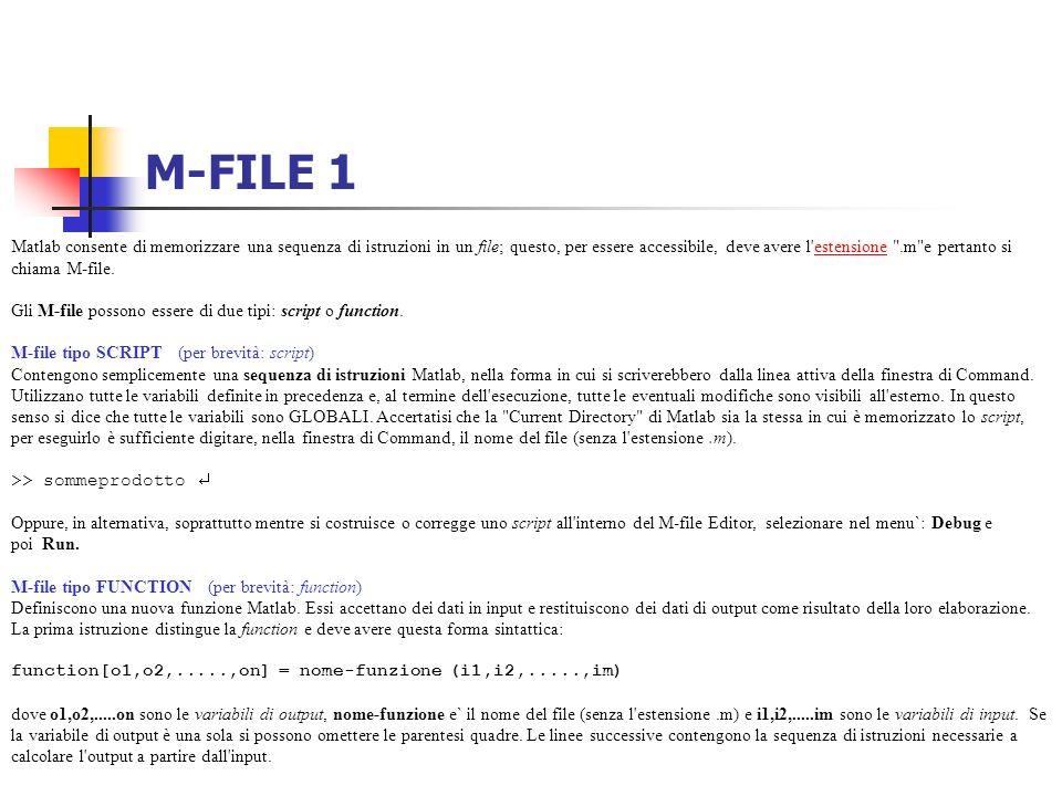 M-FILE 1 Matlab consente di memorizzare una sequenza di istruzioni in un file; questo, per essere accessibile, deve avere l'estensione
