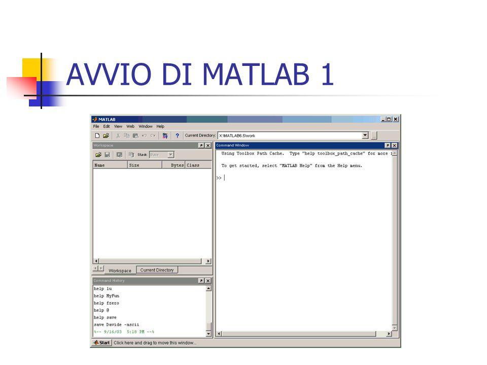 MATRICI, VETTORI e SCALARI 4 Dimensionamento delle matrici Il dimensionamento delle matrici è dinamico: Matlab riconosce le dimensioni delle matrici e le possibili modifiche; >>b = [1 2 3;4 5 6] >>b = [1 0 0 1] Matlab riconosce che b ha cambiato dimensioni passando da 2 x 3 a 2 x 2.