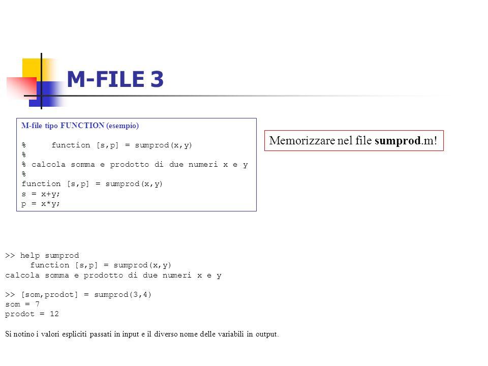 M-FILE 3 M-file tipo FUNCTION (esempio) % function [s,p] = sumprod(x,y) % % calcola somma e prodotto di due numeri x e y % function [s,p] = sumprod(x,