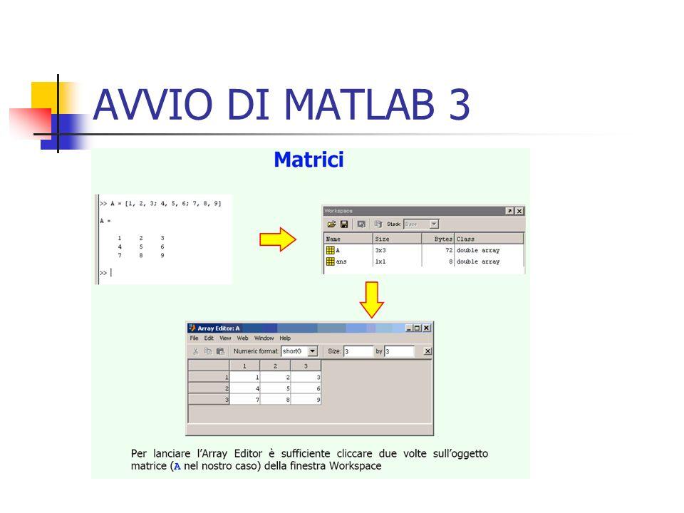 MATRICI, VETTORI e SCALARI 6 Vettori Possiamo creare vettori riga o colonna, con le stesse regole adottate per le matrici.