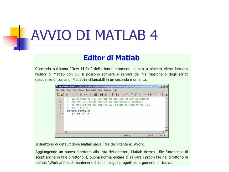 AVVIO DI MATLAB 4
