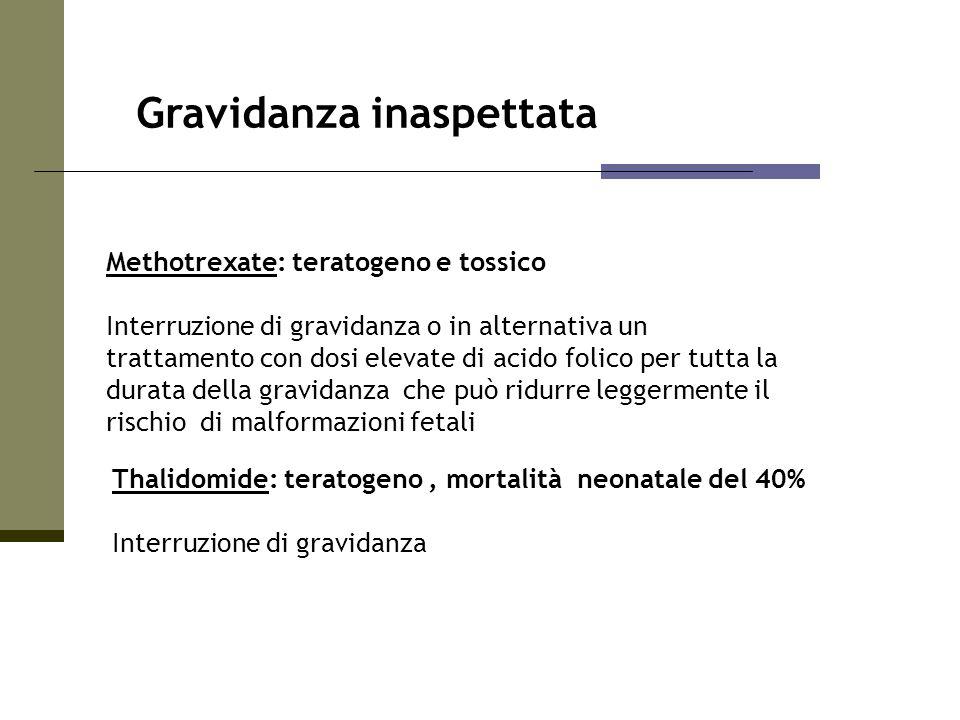 Gravidanza inaspettata Methotrexate: teratogeno e tossico Interruzione di gravidanza o in alternativa un trattamento con dosi elevate di acido folico